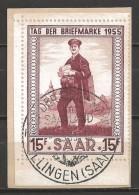 Germany Saarland 1955 Tag Der Briefmarke First Day Cancel - 1947-56 Gealieerde Bezetting