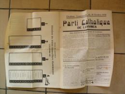 Election Communales 1938 Catholique De Lessines - Documenti Storici