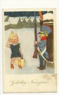 Gelukkig Nieuwjaar. Soldat, Guérite, Fusil. Petite Fille, Trèfle, Grand Sac - Nouvel An