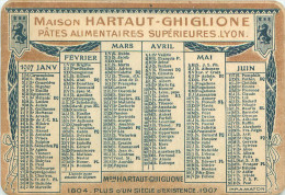 Calendrier  1907    Pub Hartaut  Ghiglione  pates alimentaires  Lyon       2062