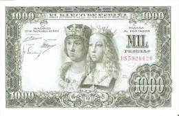 BILLETE DE ESPAÑA DE 1000 PTAS DEL AÑO 1957 REYES CATÓLICOS SERIE 1S SIN CIRCULAR-UNCIRCULATED (BANKNOTE) - [ 3] 1936-1975: Franco