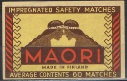 Etiqueta Safety Matches . MAORI, Cerillas De Precision FINLAND, Finlandia - Objetos Para Fumadores