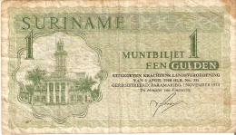 BILLETE DE SURINAM DE 1 GULDEN DEL AÑO 1974 (BANKNOTE) - Surinam