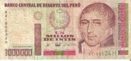 BILLETE DE PERU DE 1000000 DE INTIS DEL AÑO 1990 (BANKNOTE) UN MILLON - Perú