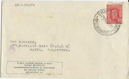 """AUSTRALIA - 1943 - ENVELOPPE Avec OBLITERATION MARITIME """"SHIP MAIL ROOM"""" à MELBOURNE Pour HAIFA (PALESTINE) - Marcophilie"""