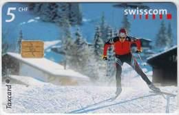 SWITZERLAND A-069 Chip Swisscom - Sport, Cross-country skiing - used