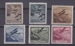 Liechtenstein 1930 Flugzeug über Landschaften 6v * Mh (=mint, Hinged) (21657) - Luchtpostzegels