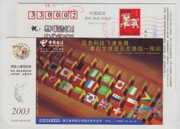 Flag,Keyboard,China 2003 Shaoxing Telecom Information Developing Advertising Postal Stationery Card - Autres