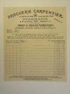 Facture Invoice 1910 Droguerie Carpentier étoile D'Or Goude Ster Boterstraat Ypres Ieper - Droguerie & Parfumerie