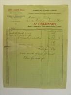 Facture Invoice 1912 Auto-Palace Delonnoy Ateliers Mécanique Namur Automobiles Tourisme Industrie - Transports