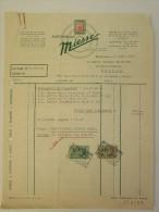 Facture Invoice 1956 Automobiles Miesse Gardner Marine Bruxelles - Transport