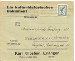 1927 Deutschland, Brief, Drucksache Erlangen Nach Schweiz, Mi 378, Siehe Scans! - Deutschland