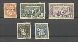 Andorre Français N°4, 24, 25, 47, 51 Cote 2.75 Euros - Andorre Français