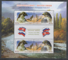 BIRDS, JOINT ISSUE WITH RUSSIA ,2014, MNH, BIRDS OF PREY, SHEETLET OF 2 SETS - Arends & Roofvogels