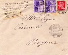 ITALIA  Storia Postale  Regno  Coppia Di Cent. 50 Ferrovia + 20 Imperiale  Del  1940 - Italia