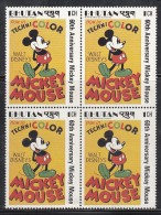 BHUTAN, 1988, 1989,  60th Anniversary  Mickey Mouse, DISNEY,  1 Value (1 Ch,) Block Of 4,MNH(**) - Disney