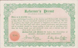 Arcade Card Humour Reformer's Permit - Humour
