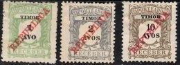 TIMOR 1911 Postage Due Republica 1a, 2a, 10a  Mint - Timor