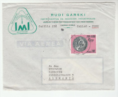 1960s Air Mail PERU Illus ADVERT COVER  6.50 UNICEF Stamps  To Germany Un United Nations - UNICEF
