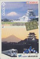 Carte Prépayée Japon - TRAIN & Volcan Montagne MONT FUJI - Mountain Japan Prepaid Card  - ZUG & BERG - 1727 - Montagnes