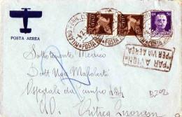 CARTOLINA POSTALE -POSTA AEREA X OSPEDALE DA CAMPO 434-AFRICA ORIENTALE -ERITREA-POSTA AEREA CENT. 50 X 2 +50 - 1900-44 Vittorio Emanuele III