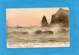 USA-THE SURGING  BILLOWS  NARRAGANSETT PIER R I - En 1902- Un Bateau Dans La Tempête- Tuck &sons  N° 3377 - Etats-Unis