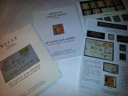 4 Catalogues De Timbres De Vente Sur Offre; Boule Monaco                         Dont 2 Catalogues Boule Monaco 1996 - Auktionskataloge