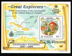 St.Vincent - 1988 Columbus 5$ Block MNH__(THB-991) - St.Vincent (1979-...)