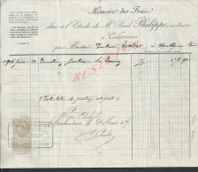 FACTURE SUR TB FISCAUX DE 1907 : COULOMMIERS ETUDE Me P. PHILIPPE NOTAIRE : - Straßenhandel Und Kleingewerbe