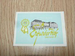 Ho-Hotel-Betries Erfurter Hof Erfurt Germany Kofferanhänger Luggage Tag Hotel Label Hotel-Aufkleber - Hotel Labels