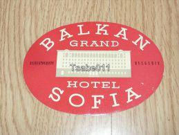 Grand Hotel Balkan Sofia Bulgarie Balkantouriste Kofferanhänger Luggage Tag Hotel Label Hotel-Aufkleber - Hotel Labels