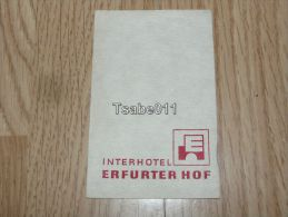 Interhotel Erfurter Hof Erfurt Germany Kofferanhänger Luggage Tag Hotel Label Hotel-Aufkleber - Hotel Labels