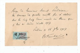 Reçu , Pour Récolte 1917 , POITIERS , Timbre Fiscal - Invoices & Commercial Documents