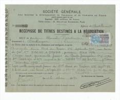 Récépissé De Titres Destinés à La Négociation , SOCIETE GENERALE , 1924 , , Timbre Fiscal - Facturas & Documentos Mercantiles