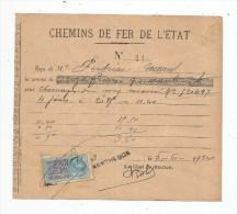 Reçu , Chemins De Fer De L'état , 1924 , Timbre Fiscal - Factures & Documents Commerciaux