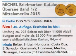 Mittel-Amerika Band 1 Teil II Michel Katalog Ü 1/2 Briefmarken 2015 Neu 84€ Mexiko Panama Honduras Guatemala Costa Rica - German
