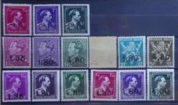 BELGIE 1946  opdruk 10 %   nr. 724 R - 724 T / 724 K - 724 W   Postfris ** met keurmerk   CW  160,00