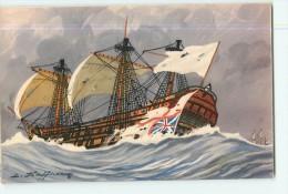 6 CPA : Magnifiques Carte Voiliers Par Illustrateur En BE - 7 Scans - Sailing Vessels