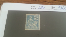 LOT 257786 TIMBRE DE FRANCE NEUF* N�118 VALEUR 160 EUROS