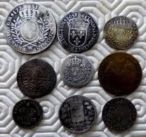 LOT 8 MONNAIES ARGENT SILVER ET 1 JETON  A DEFINIR - 987-1789 Monete Reali