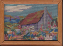 Small Tapestry Of Cottages, Framed As Picture,E.WOLLEN &Co, THE PICTURE HOUSE, CAPETOWN - African Art