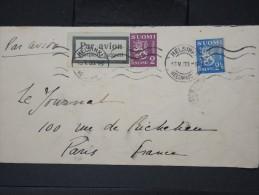 FINLANDE- Enveloppe De Helsinki Pour Paris Par Avion En 1933   LOT P4646