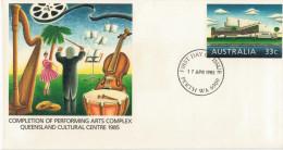 COMPLETION OF PERFORMING ARTS COMPLEX QUEENSLAND CULTURAL CENTRE  1985      (TIMBRO 1 GIORNO) - Interi Postali