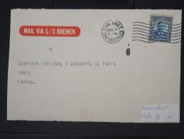"""ETAS UNIS- Pérfore"""" B Cn """" Sur Devant D Enveloppepour Paris En 1933  Etiquette """" Mail Via S/s Bremen""""  A Voir LOT P4651 - Perforados"""
