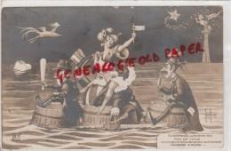 HENRI AURRENS - ILLUSTRATEUR POLITIQUE SATIRIQUE- EVENEMENTS DE FEVRIER 1910- LA COMETE ET LE GOUVERNEMENT -CARTE PHOTO - Aurrens