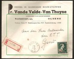 - 10 % Brief Per AANGETEKEND Verstuurd - Lettre Recommandé - OLSENE (zie Scan / Voir Scan) ! - 1946 -10%