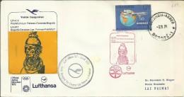 CANARIAS PRIMER VUELO BOGOTA CARACAS LAS PALMAS FRANKFURT 1971 AL DORSO MAT AEROPUERTO LAS PALMAS - Lettres