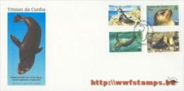 50% DISCOUNT WWF - TRISTAN DA CUNHA - 2004 - Local FDC - 4 Stamps On 1 FDC - Color Design Of Seal - 1 Cancel - W.W.F.