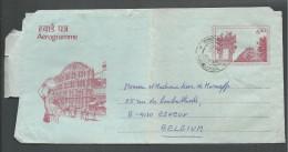 ! - 1992 - Aerogamme - De Inde ( Barrachpore)  Vers Belgique (Esneux) - Cartas