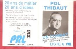 1989- Elections- POL THIBAUT Liste 6  PRL - Calendriers
